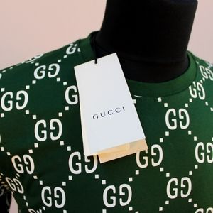 Gucci Olive Green Monogram Print Short Sleeve Tee